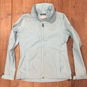 Columbia Hooded Rain/Wind Breaker - Lt. Aqua - SM